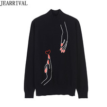 High Quality Womens Sweaters And Pullovers 2017 New Fashion Runway Finger Embroidery Oversized Knitted Jumper Sweater Pull Femme(China)