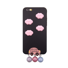 2017 Fashion hand made 3d cartoon sexy girl love white clouds doll school car rainbow color metal pearl soft tpu case For Iphone(China)