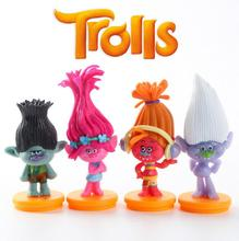 4pcs/set Trolls Baby trolls Bobby Blanche doll toys children doll ornaments Automotive Decoration 7cm