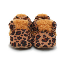 Delebao Warm Winter Soft Sole Brown Leopard Graie Baby Sheos Super Comfortable Drawstring Elastic Infant Toddler  Baby Boy Shoes