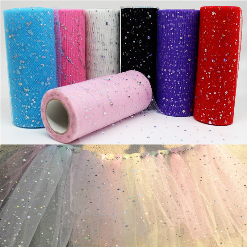 15cm Width 10/25 Yards Glitter Sequin Tulle Roll Spool Tutu Wedding Decoration Organza Laser DIY Craft Birthday Party Supplies