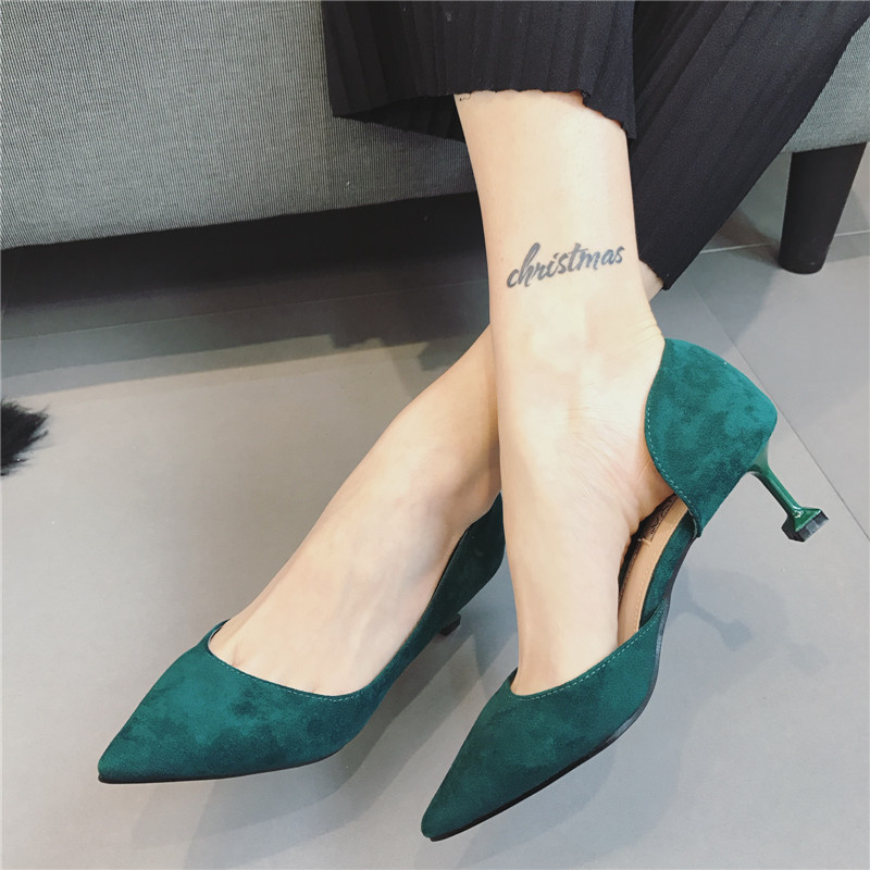 Free shipping spring pointed toe thin heels brief single shoes velvet womens shallow mouth high heel  shoes<br><br>Aliexpress