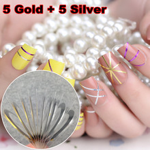 LCJ 5pcs Gold Color + 5pcs Silver Color Striping Tape Metallic Yarn Line Nail Art Decoration Sticker(China)