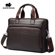 BISON DENIM Men Genuine leather briefcases 14inch Laptop handbag Business Messenger/Shoulder Bags for Men