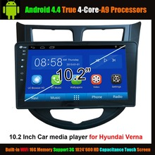 "10.2 ""Car Media Player for Hyundai Verna Android 4.4 True 4-Core ,WiFi Support 3G 1024*600 HD Capacitance Touch Screen(China)"