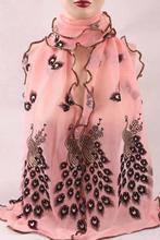 1PC Fashion Women/Lady's Silk Scarves Chiffon Transparent Long Soft Wrap Shawl Stole Peacock Scarf 190*40CM 7 Colors