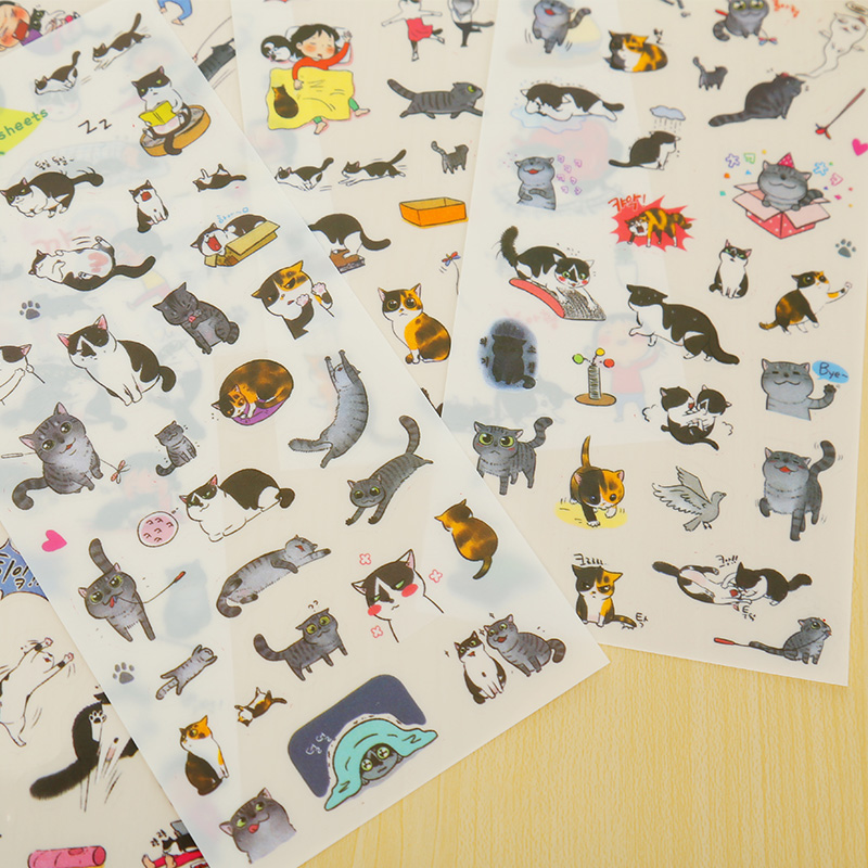 6 pcs/lot Cartoon Cat Girl Cute Paper Sticker Decorative Journal Scrapbook Planner Stickers Kawaii Stationery School Supplies