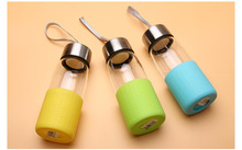 1PC new Glass Water Bottle with rope 320ml Drinking glass teapot sports travel bottles KD 1466(China)
