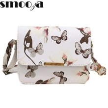SMOOZA Women Floral leather Shoulder Bag Handbag Retro Female Small Messenger Bag Famous Designer Clutch Shoulder Bags Bolsa