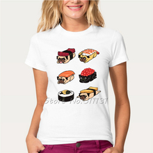 Funny Creative Frenchie/Pug Sushi Design T-Shirt Fashion Animal Food Printed T Shirt Women/Lady Novelty Hipster Tee Tops