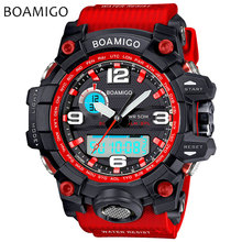 men sport watches dual display watch BOAMIGO brand Electronic quartz watches male analog digital LED 50M waterproof wristwatches