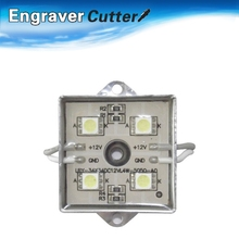 100pcs, White SMD 5050 Waterproof LED Module (4 LEDs, Metal Shell, 0.96W, L35 x W35mm) for Illuminate Signs