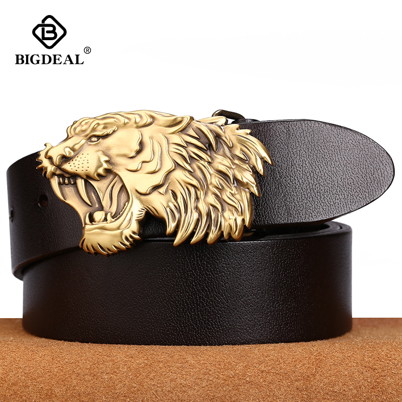 Bigdeal men's genuine leather belt designer belts men luxury strap male belts for men fashion pin buckle for jeans