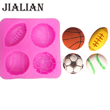 Free shipping ball football basketball baseball football soap mould cake decorating tools DIY baking fondant silicone mold T0149(China)
