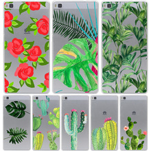 Plants Cactus Banana Leaves Hard Case for Huawei P10 P9 P8 Lite P10 P9 Plus P7 P6 G7 & Honor 4C 4X 7 6 8 Lite
