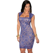 S- XXL Pink Purple Red Black Sexy Bodycon Lace Dress Summer Autumn Cocktail Party Mini Dress Womon Club Dress Vestido De Renda(China)