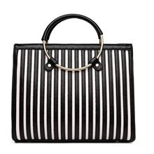 2017 new fashion women square handbag black colors striped ladies shoulder bag round metal grace women commuter bags