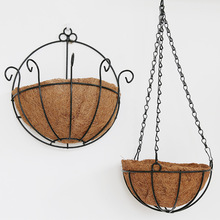 Elegant Rural Style Hanging Basket Planters Coconut Iron Art Wall Flowerpot Hanging Wall Adornment Flowers Artificial Flowers