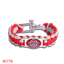 Ohio State Buckeyes Custom Paracord Bracelet NCAA College Football Charm Bracelet Survival Bracelet , Drop Shipping! 6Pcs/lot!