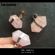 Gold silver Plated Raw Rose light pink Quartz Crystal Point pendant for Necklace jewelry making material