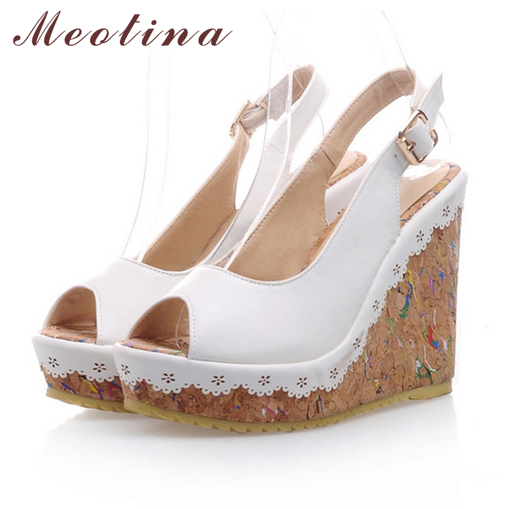 Meotina Shoes Women Sandals Summer Peep Toe Ankle Strap Platform Wedges Female Bordered White Blue Beige Shoes Plus Size 9 10 <br><br>Aliexpress