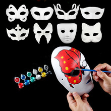 New DIY Mask Hand Painted Halloween White Face Mask Butterfly Blank Paper Masks Masquerade Cosplay Party Props ZA1879
