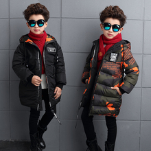 Boy Coat Jacket Winter Wear on Both Sides Wear 2017 New Middle and Large Children Thick Long Cotton Clothing Baby Cotton Jacket