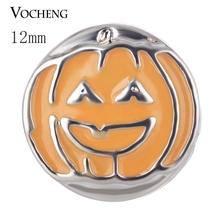 Jack-O-Lantern Vocheng Ginger Snap Button Small 12mm Painted Design Hallowmas Charms Vn-1701