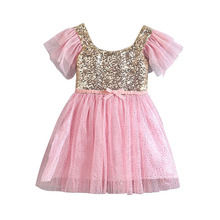 Fashion 2-7Y  Lovely Pink Sequins Girls Tutu Dress Newborn Baby Flower Girls Wedding Pegeant Party Dress