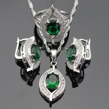 Jewelry Sets Silver Color Green Created Emerald White Emerald Earrings/Pendant/Necklace/Rings Free Gift Box Made in China