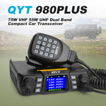 QYT 980PLUS 75W VHF 55W UHF Dual Band Quad Standby Colorful Screen 200CH Ham Mobile Vehicle Radio Car Transceiver +Speaker Mic