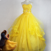 2017 New Beauty and the Beast movie  Princess Belle adults cosplay costume yellow fancy dress Custom made