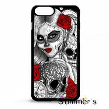 Sugar skull tattoo girl pocket watch cellphone case cover for iphone 4s 5s 5c 6s plus Samsung Galaxy S3/4/5/6/edge+ Note2/3/4/5