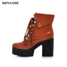 NEMAONE new fashion lace up women ankle boots high heels us size 11 12 13 42  black motorcycle boots platform shoes woman