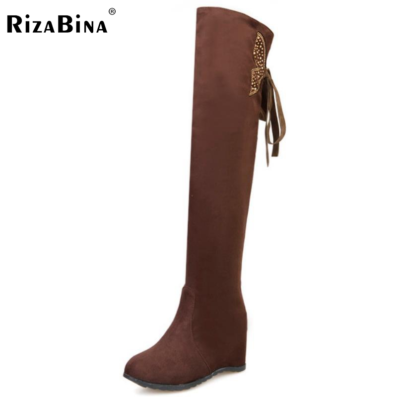 RizaBina women height increasing over knee boots suede leather warm winter knight long botas snow boot  shoes P21824 size 32-43<br>