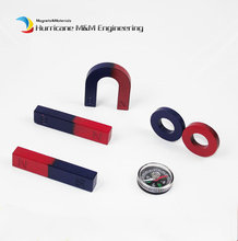 2 Sets Ferrite Magnet Experiment Magnet Kits Small Type Bar U and Ring with Compass blue red / Toy magnet Magnetic Teaching Tool