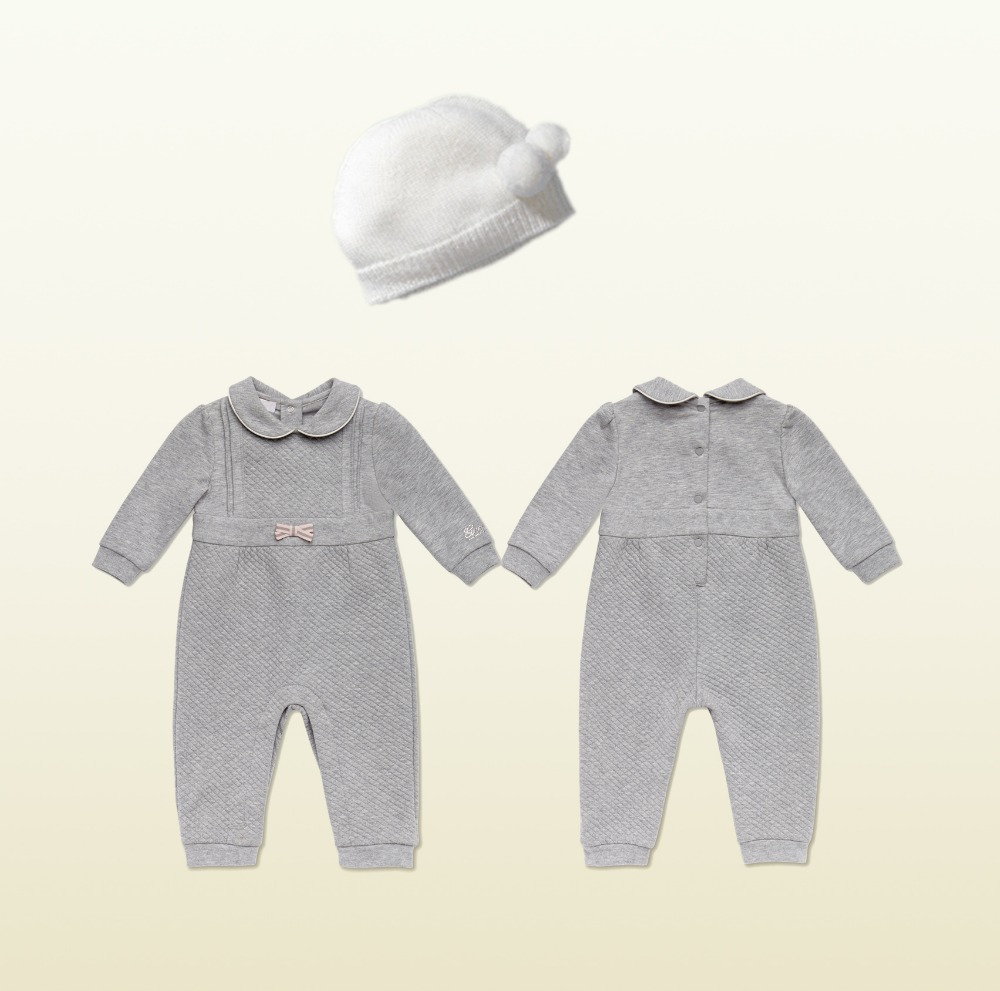Fashion Brand Baby Rompers newborn Winter Gray Bebe jumpsuit roupa infantil Baby Clothing 2pcs Set Romper + HAT<br><br>Aliexpress