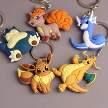 3D Anime Pokemon Go Key Ring Pikachu Emoji Keychain Pocket Monsters Key Cover Holder PVC Soft Silicone Carton Car Metal Llavero