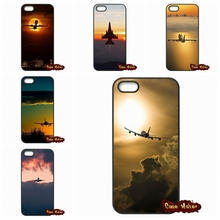 Plane With Sunset Glow Theme Case Cover For iPhone 4 4S 5 5C SE 6 6S 7 Plus Galaxy J5 A5 A3 S5 S7 S6 Edge