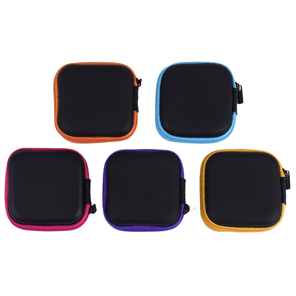 5pcs Portable Zipper Hard Eeadphone Case PU Leather Earphone Bag Protective Usb Cable Organizer Mini Earbuds Pouch Case Tiny Box