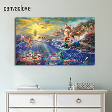1 piece canvas art HD poster little Mermaid Thomas Kinkade painting dropshipping print canvas UP-1843C(China)