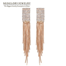 Neoglory Rose Gold Color Waterfall Chandelier Tassel Bohemian Drop Earring for Women Rhinestone Fashion Brand Jewelry 2017 New