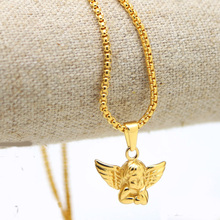 "pure gold color Cherub Baby Angel Heaven Wings Micro Pendant Exquisite Lovers  3mm and 27.5"" Round Box Chain Hiphop Necklace"