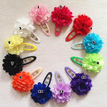 12 Pcs/lot Fashion New Style Solid Satin Flower Hair Clip Kids Boutique Hairpins With Flower Handmade BB Clip Hair Accessories(China)