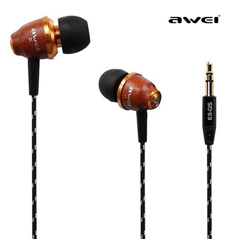 Original AWEI ES-Q5 In-Ear Earphone earbuds Stereo Music Bass Wooden earphones for iphone xiaomi huawei Mobile Phone MP3 MP4 PC<br><br>Aliexpress