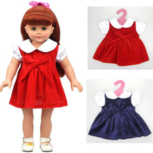 "1 pieces dress for 18"" 45cm American girl doll red or blue pleuche velvet dress baby doll clothes for alexander doll dress up"