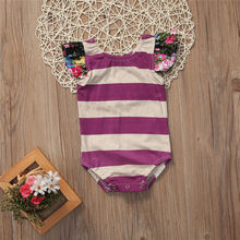 2017 Summer Striped Baby Bodysuit Newborn Infant Baby Girl Clothes Floral Fly Sleeve Cotton Sunsuit Outfits Children Bodysuit