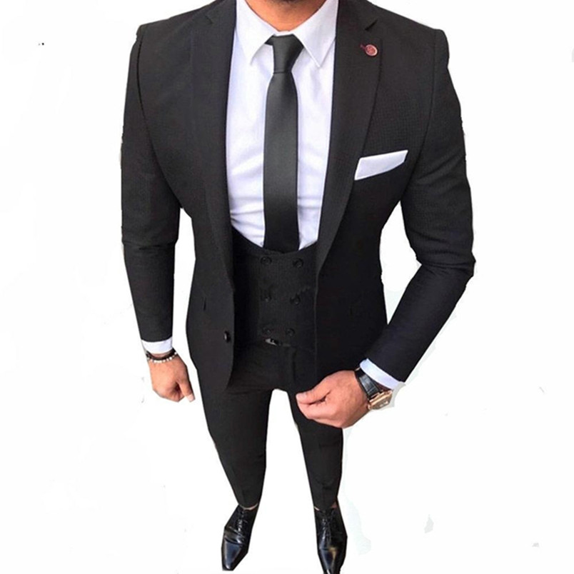 Black Costume Homme Formal Wedding Suits For Men Custom Made Mens Suits Slim Fit Groom Wedding Tuxedo (jacket+pant+vest)