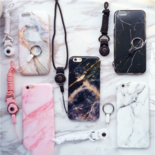 New Marble Texture Phone Cover TPU Soft Phone Case For iPhone 6 6Plus For iPhone 6 s 6s Plus Mobile Phone Bags+Telephone rope