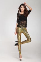sexy leggings Wild bright leather gilding serpentine nine points leggings pants leggings leggings pant(China)